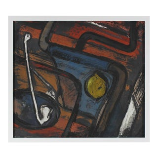 Gustav Friedmann Abstract Expressionist Still Life Gouache Painting, Circa 1940s For Sale