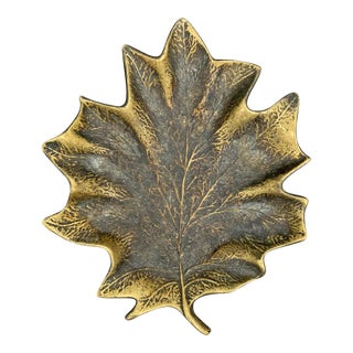 Bronze Maple Leaf Dish For Sale
