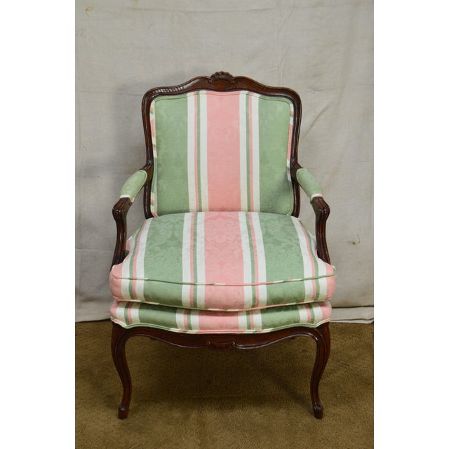 French Louis XV Style Custom Quality Fauteuil Arm Chair For Sale - Image 10 of 13