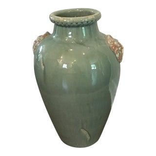 Italian Green Ceramic Vase For Sale