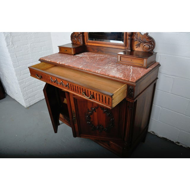 1900's French Walnut Vanity Dresser with Red Italian Marble Top For Sale - Image 11 of 13