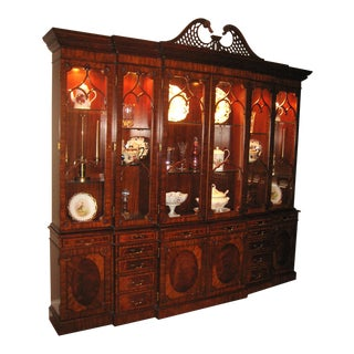 Maitland-Smith Georgian Triple Breakfront China Cabinet For Sale