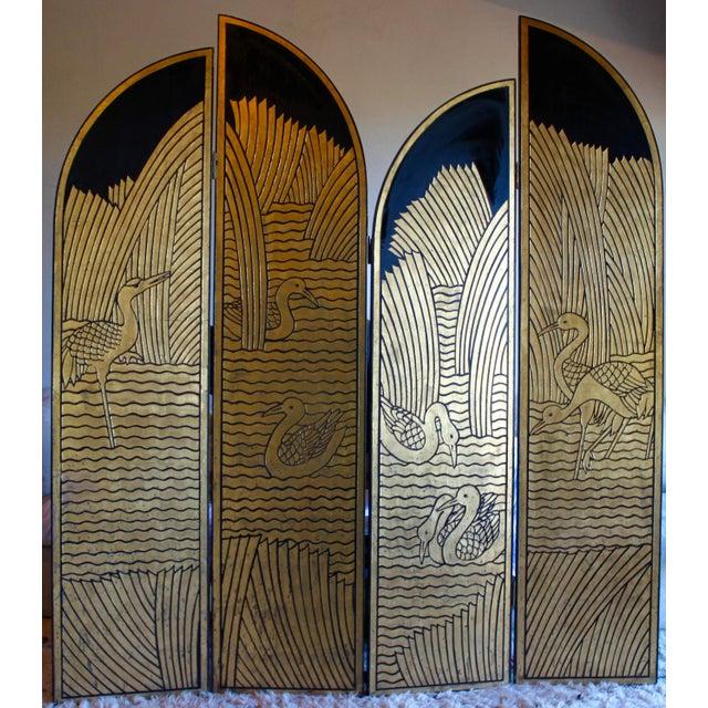 Vintage Donald Deskey Style Art Deco Lacquer and Gilt Chinoiserie Folding Screen Room Divider Heron Reed Motif For Sale - Image 13 of 13