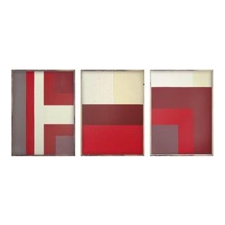 Abstract Ron Burgundy Triptych Paintings - Set of 3 For Sale
