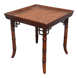 Vintage French Country Faux Bamboo Brown End Table W Scalloped Edge Side Table For Sale