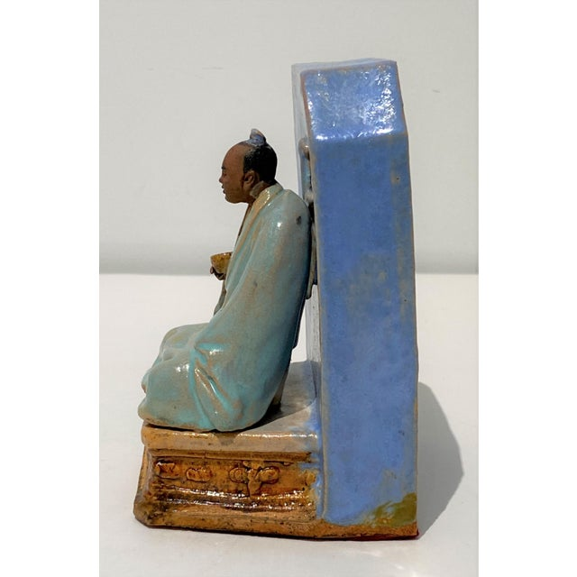 Ceramic Antique Early 20c Figurine Buddha With Alms Bowl in Glazed Pottery For Sale - Image 7 of 11