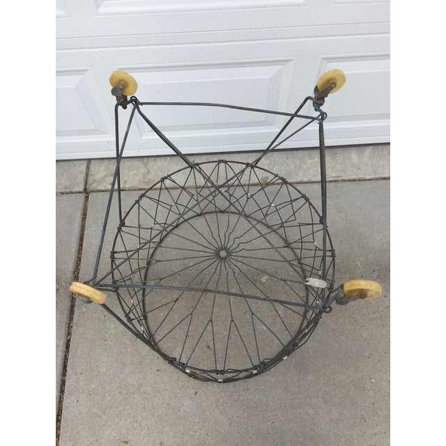 Vintage Industrial Collapsible Wire Laundry Basket on Casters For Sale - Image 10 of 13