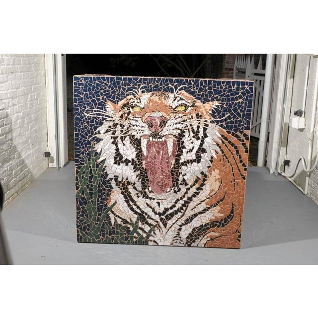 Large Mosaic Tiger Coffee Table For Sale - Image 4 of 7