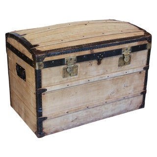 Antique French Wood and Iron Dome Top Trunk, Circa 1900 For Sale