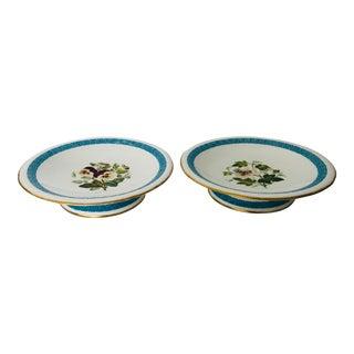 Vintage Floral & Greek Key Design Set of 2 Fine China Compote For Sale