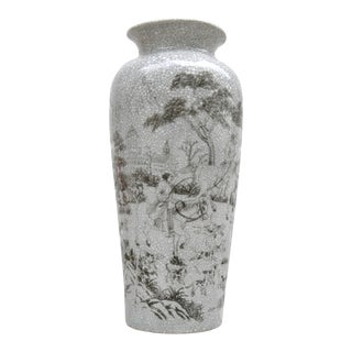 Gray & White Crackle Pastoral Vase