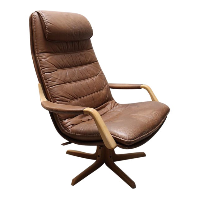 mid century brown leather lounge chair chairish. Black Bedroom Furniture Sets. Home Design Ideas