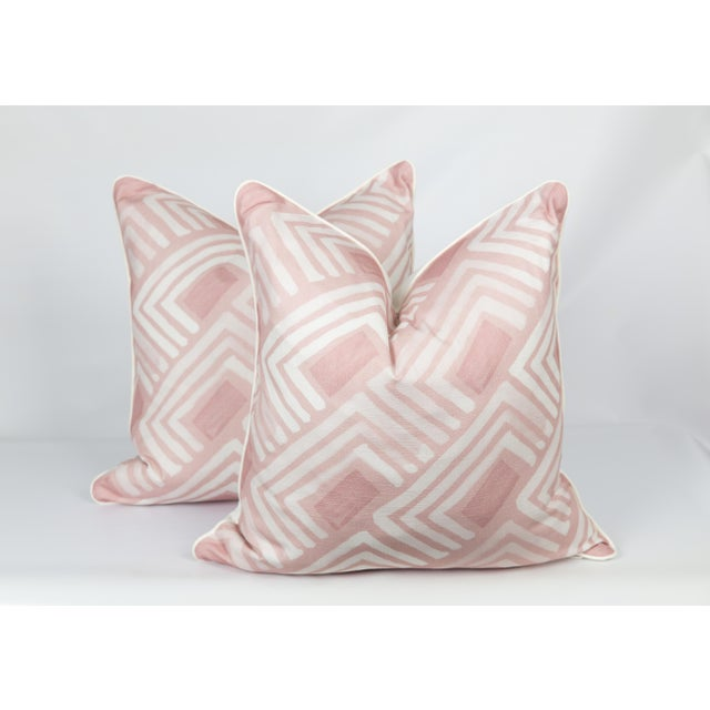 2010s Blush Abstract Linen-Blend Pillows, a Pair For Sale - Image 5 of 6