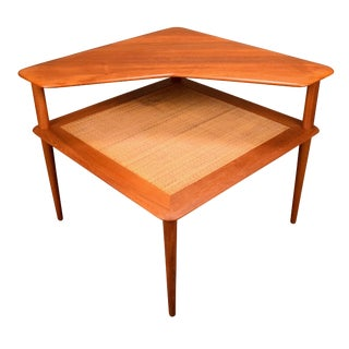 "1950s Danish Modern Peter Hvidt ""Minerva"" Corner Teak Table For Sale"