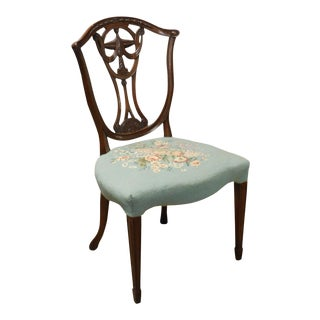 Hepplewhite Style Vintage Custom Quality Mahogany Side Chair For Sale