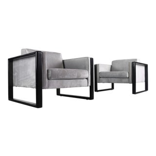 Cube Club Chairs Attributed to Walter Knoll - A Set of 2, USA For Sale