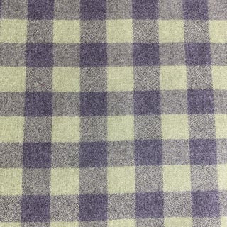 Designer Green and Charcoal Check Flannel Fabric For Sale