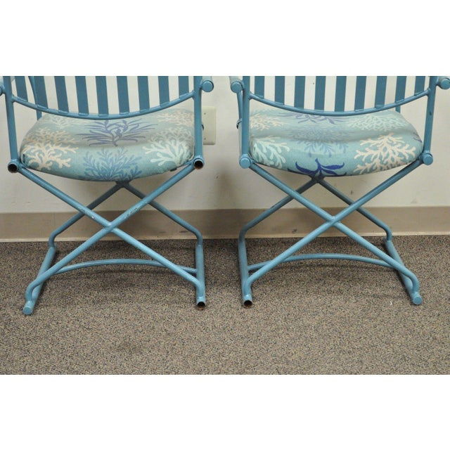 Pair of Vintage Hollywood Regency X Form Blue Iron Curule Directors Arm Chairs B - Image 7 of 11