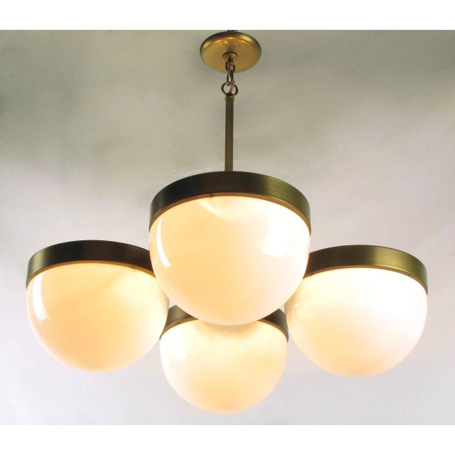 Feldman Lighting Feldman Lighting Five-Light Hemispherical Milk Glass and Brass Pendant For Sale - Image 4 of 10