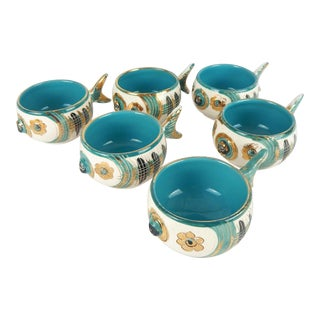 Rare Bitossi Fish Cups, S/6 For Sale