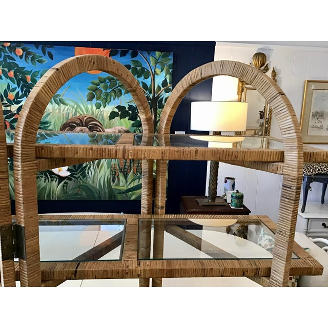 Wood Bielecky Brothers Rattan Arch Top Etagere For Sale - Image 7 of 12