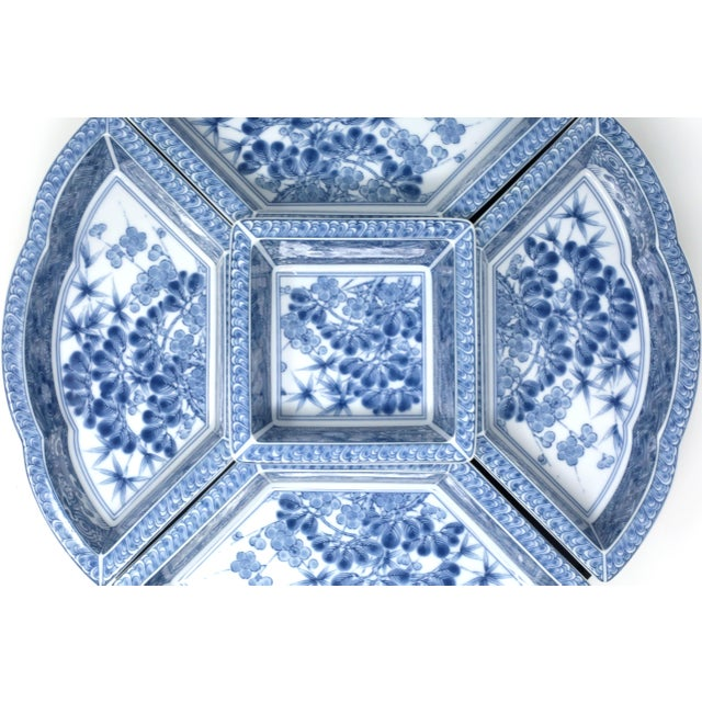 Blue Vintage Japanese Blue and White Lazy Susan - Set of 6 For Sale - Image 8 of 13