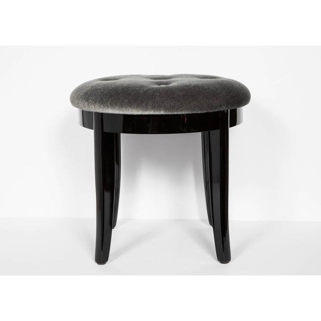 Art Deco Elegant Art Deco Stool in Black Lacquer and Grey Mohair For Sale - Image 3 of 6