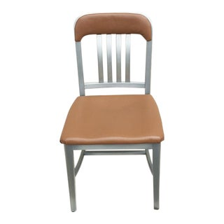 Vintage GoodForm Aluminum Chairs With Brown Leather For Sale