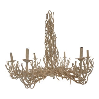 Vintage Faux Coral Iron Chandelier For Sale