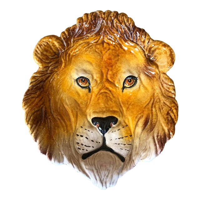 Rare Terra Cotta Glazed Lion Figure Dish, Made in Italy For Sale