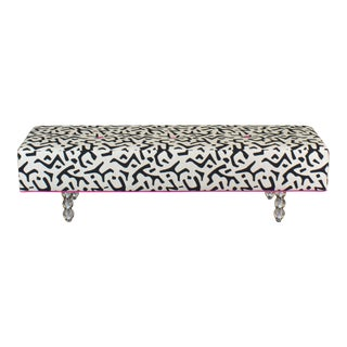 Black & White Ottoman on Glass Legs, Black & White Bench For Sale
