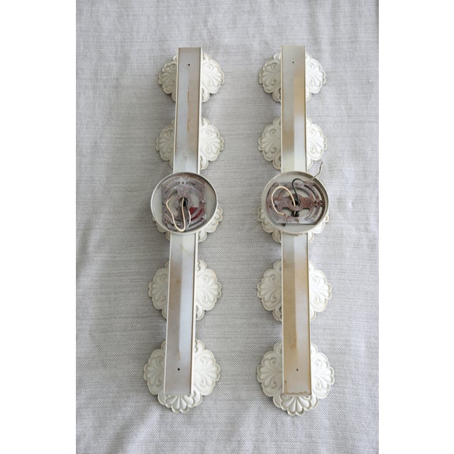 Vintage White Floral Wall Lights - a Pair For Sale - Image 4 of 8