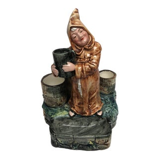 Smiling Monk Majolica Matchholder For Sale