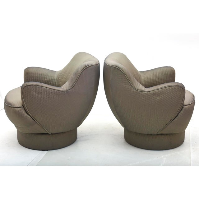 Modern Early and Rare American Modern Pair of Barrel Swivel Chairs, Vladimir Kagan For Sale - Image 3 of 10