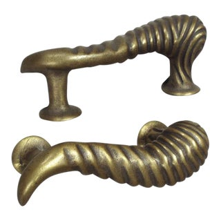 Brass Bronze Door Pulls - A Pair For Sale