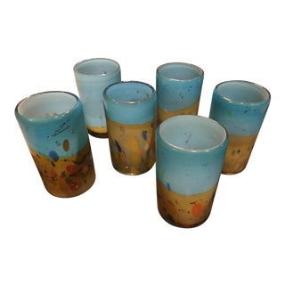 Amber & Turquoise Mexican Tumblers - Set of 6