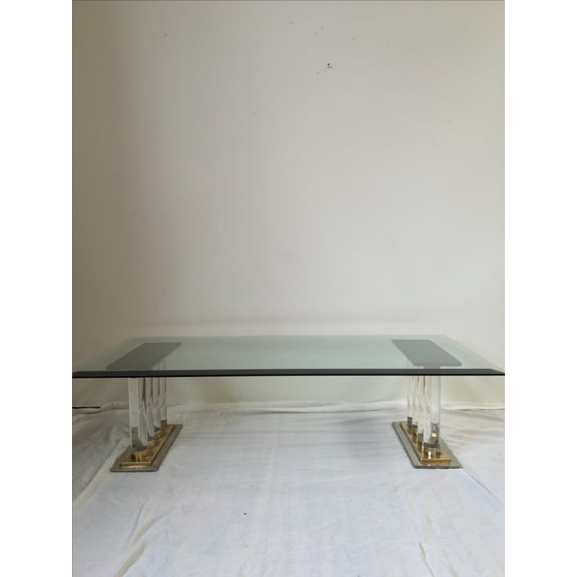 Romeo Rega-Style Lucite & Brass Coffee Table - Image 2 of 7