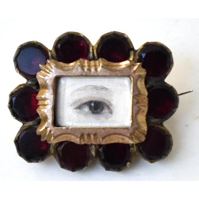 Antique Georgian Garnet Brooch With Contemporary Lover's Eye Painting by S. Carson For Sale - Image 9 of 9