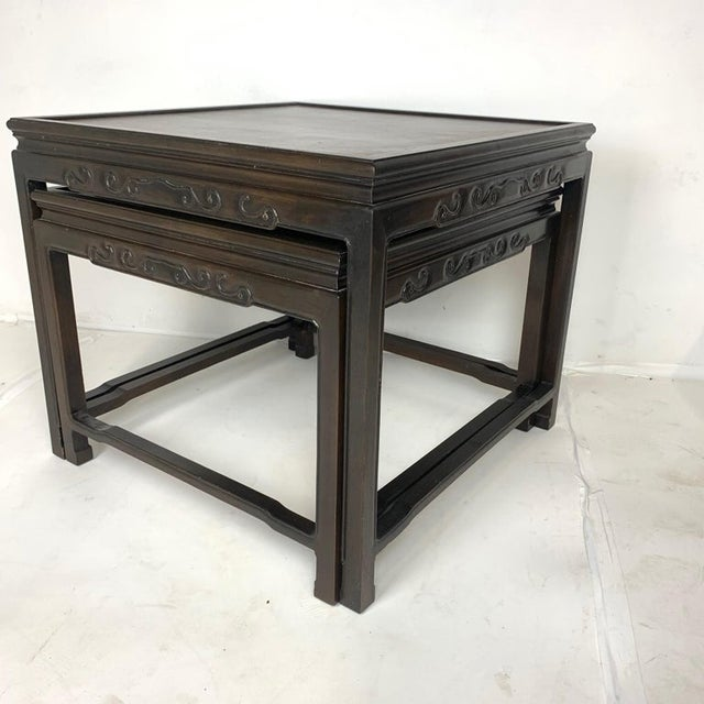 Pair of Mario Buatta for Widdicomb Asian Chinoiserie Ebonized Nesting Tables For Sale - Image 9 of 13