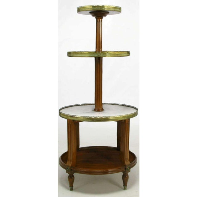 French Walnut & Carrera Marble Round Four-Tier Serving Table For Sale - Image 4 of 9