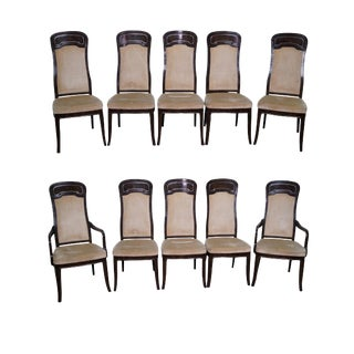 Doezema for Mastercraft Burl Amboyna Dining Chairs - Set of 10 For Sale