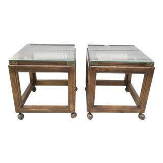 Mid-Century Rolling Cane Tables - a Pair