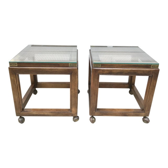 Mid-Century Rolling Cane Tables - a Pair - Image 1 of 5