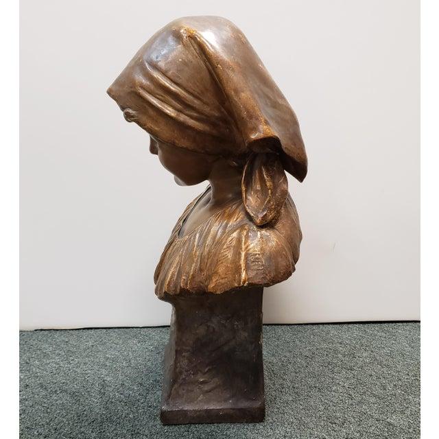 "Up for sale is a ""Annita"" Goldscheider Gilded Terracotta Bust Sculpture by Ippazio Antonio Bortone Made in Austria (1898)!..."