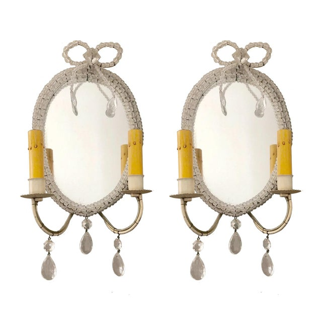 Antique Mirrored Wall Sconces, Hand-Beaded, Crystal Details on Frame - a Pair For Sale In Boston - Image 6 of 6