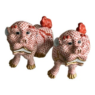 Herend Red and Orange Foo Dogs - a Pair For Sale