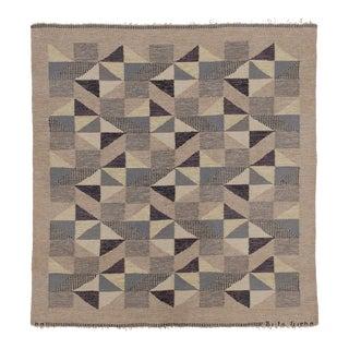 Swedish Flat Weave Rug by Brita Grahn For Sale