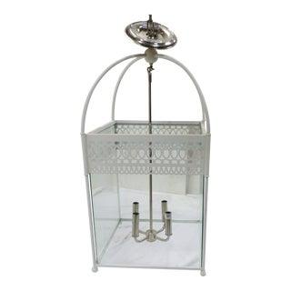 Urban Lighting Square White Metal Pendant Lantern For Sale