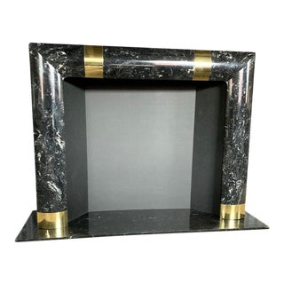1980s Brass Marble and Composite Fireplace For Sale