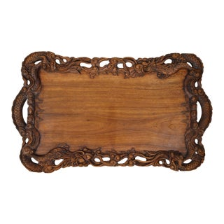 Asian Carved Wood Mythological Dragons Theme Tray, Circa 1900 For Sale